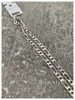 Bracelet Figaro Alternée 1-2 Diamantée 21CM X 4MM En Argent Massif 925/1000