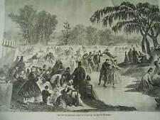 Gravure 1865 - Le Club des patineurs sur le petit lac du bois de boulogne