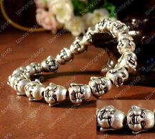 Lucky Happy Buddha Bracelet Tibetan Silver Charm Charming Elasticity Bangle AAA