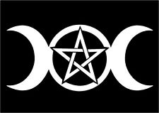 Wiccan Pagan Witch Decal Triple Moon Goddess Pentacle car vinyl altar sticker