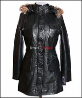 Michelle Black Ladies Women's Fur Hood Real Sheep Leather Hooded Jacket Coat
