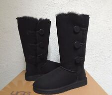 UGG BAILEY BUTTON TRIPLET BLACK SUEDE/ SHEEPSKIN BOOTS, WOMEN US 9/ EUR 40 ~NEW