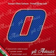 Adesivo Stickers NUMERO 0 moto auto cross gara Carbon Effect Blu 15 cm