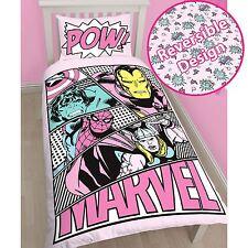 MARVEL COMICS ROSA pasteles Conjunto De Funda Nórdica Individual Súper heroe