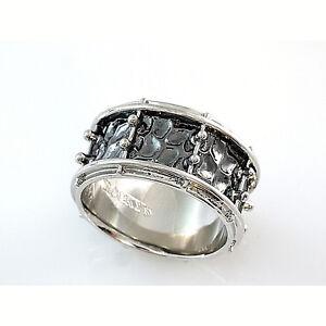 Snare Drum Ring Design ganz umlaufend schwarz rhodiniert ROCKYS Musikerschmuck