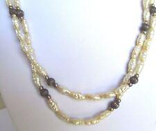 collier sautoir fantaisie 1 m perle baroque bijou couleur argent et blanc 281
