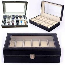 Mens 12 Grid Leather Watch Display Case Jewellery Collection Storage Holder Box