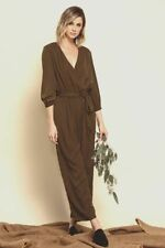 $120 Lucca Women'S Green Belted V-Neck Pull-On Cropped Casual Jumpsuit Size Xs