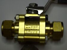 "Swagelok Brass Ball Valve, 60 Series, 1500 PSI, 3/4"" Tube, B-63VS12-ID, SC11-SS"