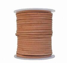 Lederband Flachband Rindleder natur, vegetabiles Leder, Länge 50 m, Breite 3 mm,