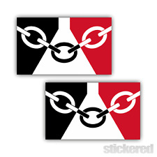 2 x BLACK COUNTRY FLAG CAR BUMPER / WINDOW VINYL STICKERS / DECALS 150mm x 90mm