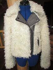NEW NWT FREE PEOPLE FAUX SHEERLING JACKET WITH TWEED TRIM SIZE M