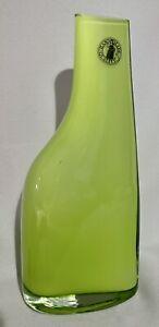 "IKEA Home Décor Modern Art Deco Style Glass Lime Green Vase 7 1/4"" Handblown"