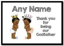 Baby Twin Black Boy & Girl Godfather Thank You  Personalised Placemat