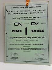 Vintage - CN - CV - Employee Time Table # 1 - ST. LAWRENCE REGION - 1965