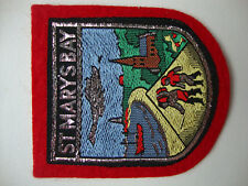 1 X ST MARY'S BAY  WOVEN BADGE SEW ON PATCH IN**RED** NICE COASTAL VILLAGE *NEW*