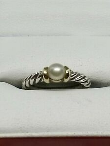 Authentic David Yurman Sterling Cable 14k  Mabe Pearl Size 4.5 Nobelesse Ring