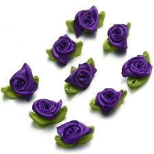 100 Pcs Ribbon Rose DIY Wedding Flower Satin Decor Bow Appliques Craft Sewing