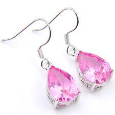 Holiday Fashion Water Drop Fire Pink Kunzite Platinum Plated Gem Dangle Earrings