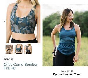 Zyia 🌙 Spruce Havana Tank/ Olive Camo Bomber Bra Set Women Sz Large