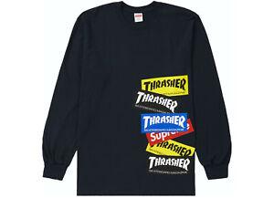 Supreme Thrasher Multi-Logo Long Sleeve Tee T-shirt Navy, Immaculate (Worn Once)