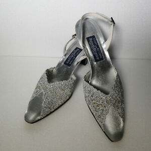 Stuart Weitzman Russell & Bromley Silver Shiny Block Heel Shoes Size 7