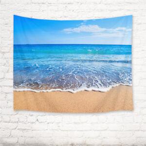 Blue Ocean Sand Beach Scenery Tapestry Wall Hanging Living Room Bedroom Decor