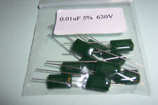 0.01uF  10nF  630V  5% Radial lead  Film Capacitors Qty 10  Vintage Radio
