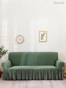 Housse de canapé à volants kaki 3 sièges : 190 - 230 cm *NEUF*