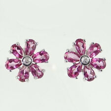 Sterling Silver Pink Topaz and Diamond Cluster Earrings