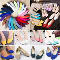 Womens Summer Flat Pumps Suede Ballet Ballerina Dolly Loafers Bridal Boat Shoes