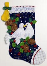 "Bucilla 2 Turtle Doves ~ 18"" Felt 12 Days of Christmas Stocking Kit #86662 Pear"