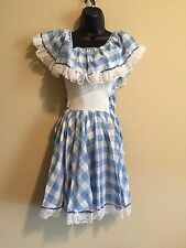Leo's Girls Size 10 Cotton/Poly White/Blue Checked Sequence Dance Costume Outfit