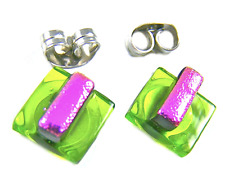 "Tiny DICHROIC Post EARRINGS 1/4"" 10mm Pink Stripe on Lime Green Fused GLASS STUD"