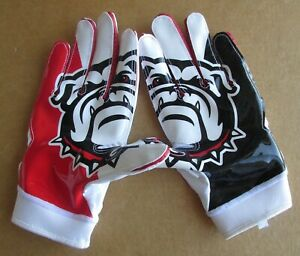 NIKE ALPHA SUPERBAD GEORGIA BULLDOGS COLLEGE FOOTBALL GLOVES RED WHITE BLK LARGE