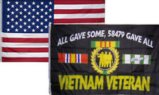 3x5 Wholesale Combo USA American & Vietnam Veterans All Gave Flag 3'x5' 2 Pack