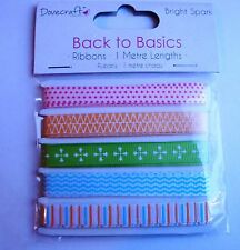 DOVECRAFT BRIGHT SPARK COLLECTION - 5 x 1 Metre Ribbons Lengths - 5 Patterns