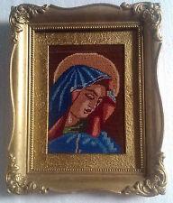 antique Romanian religious goblen gobelin rare tapestry wood frame needlepoint