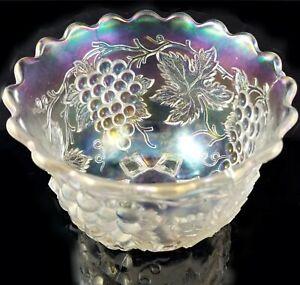Dugan White Carnival Glass Nut Bowl grape delight iridescent pressed ice eapg