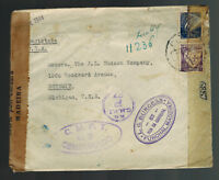 1944 Funchal Portugal Dual censored cover to USA