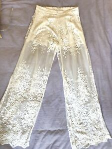 zimmermann White Silk Lace Boho Wide Leg Pants Pockets Size 1 10-12