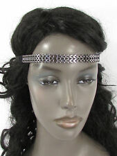 Women Elastic Boho Band Hair Fashion Head Jewelry Gunmetal Pewter Metal Chain