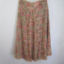 Jones New York Size 14 Beige Red Green Print Long Flare Silk Skirt Lined X-Large