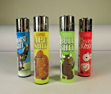 *New* 4 pcs Refillable Clipper Lighters Funny Animal Slogans Design Free US Ship