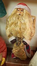 Santa Claus Father Christmas Burlap Doll Decoration Wood Base
