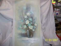 """#05.oil painting on canvas Still life Roses 27""""X15"""" signed Y. Beverly, #-328413"""