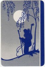 Playing Cards 1 Swap Card - Vintage Art Deco MAN + GUITAR Hiking in MOONLIGHT 1