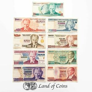 TURKEY: Set of 9 Turkish Lira Banknotes.