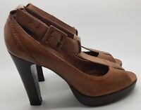 Faith High Heeled Shoes Strappy Peep Toes Buckled T-Bar Tan Real Leather UK 6