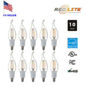 4W E12 LED Filament Candelabra Bulb 40W Equivalent Flame Tip Dimmable 10 Pack